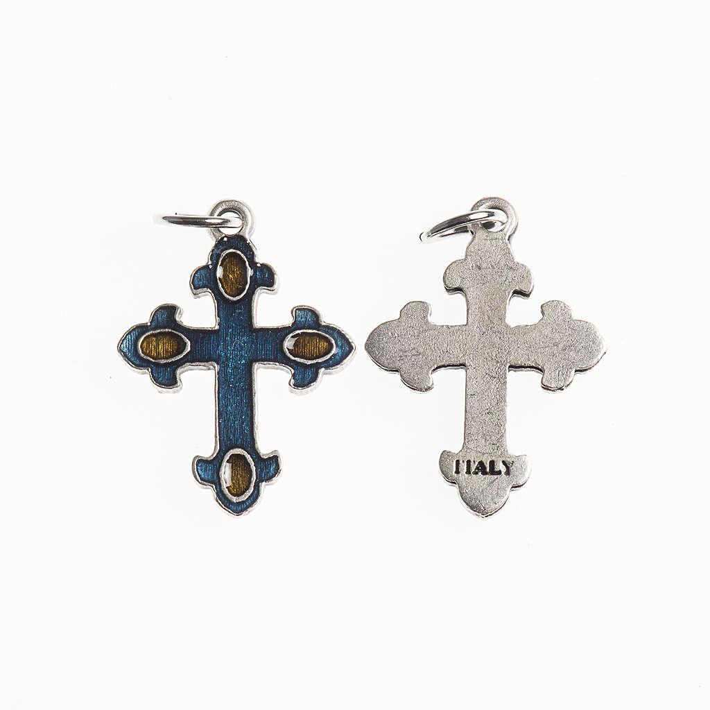 Croce 20 mm galvanica argento antico smalto azzurro ambra 4