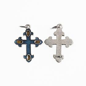 Croce 20 mm galvanica argento antico smalto azzurro ambra s1