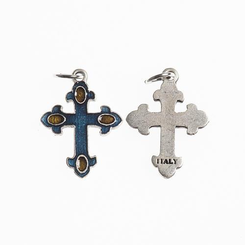 Croce 20 mm galvanica argento antico smalto azzurro ambra 1