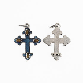 Cross, 20mm, galvanic antique silver blue amber enamel s1