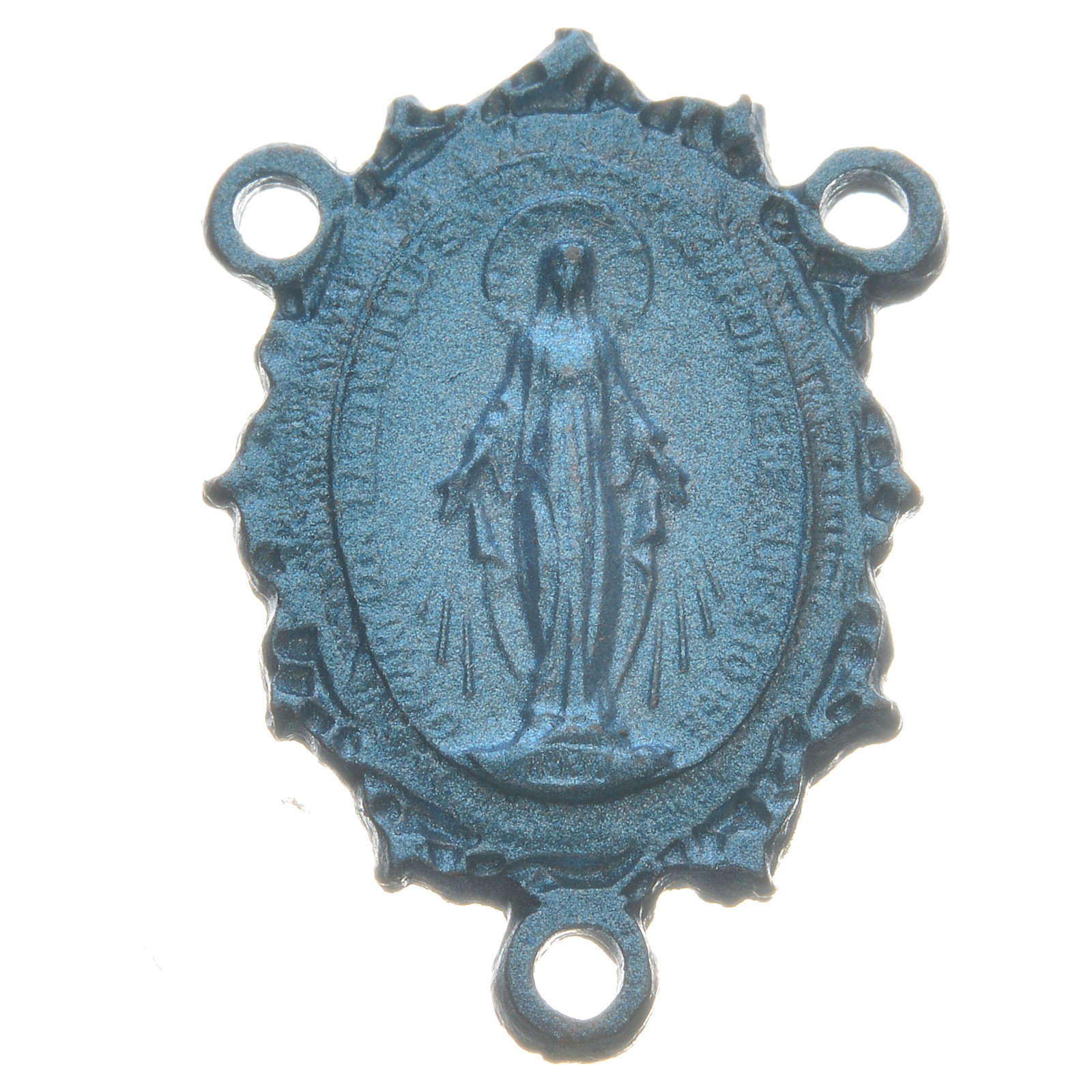 Rosary medal with Madonna, light blue colour 4