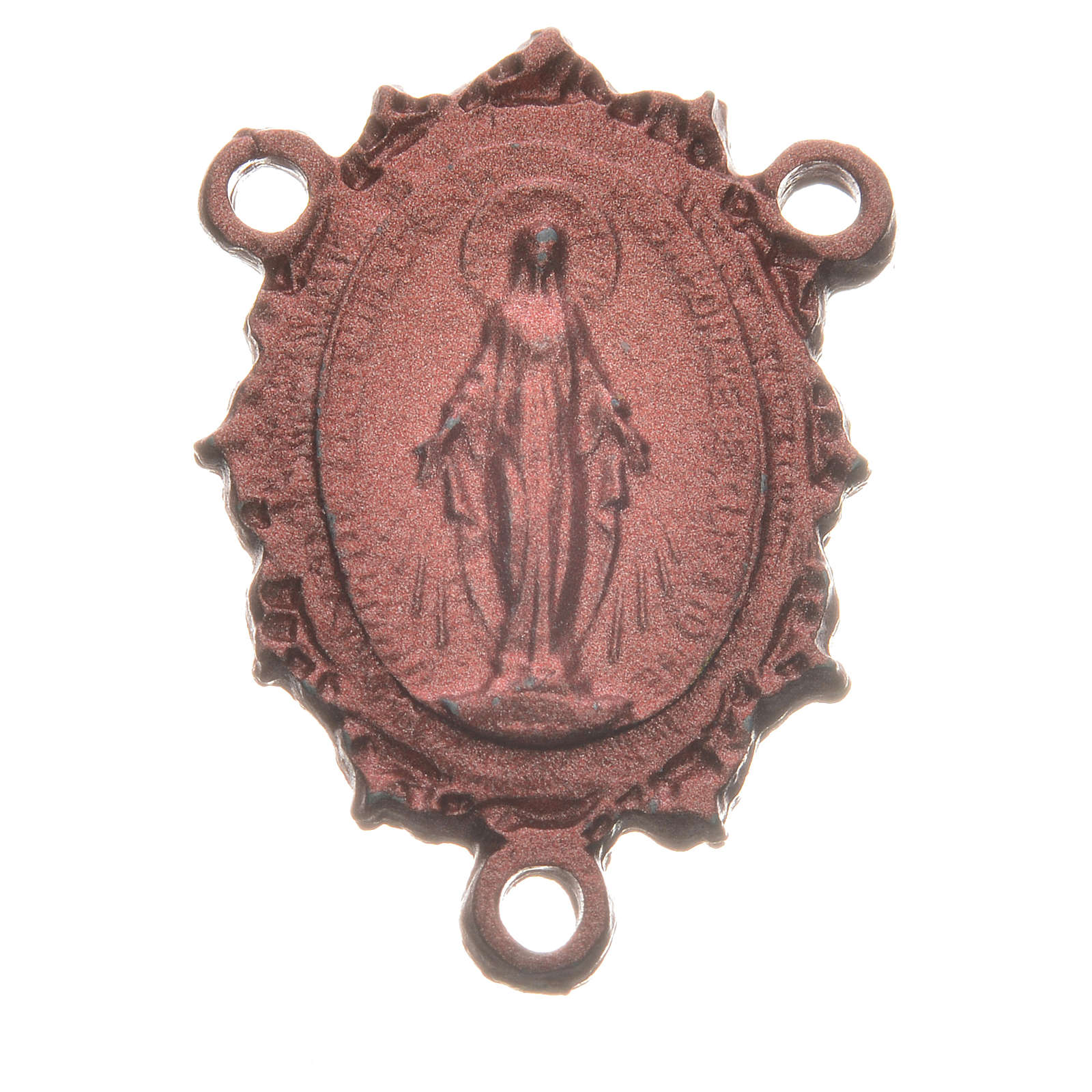 Rosary medal with Madonna, pink colour 4