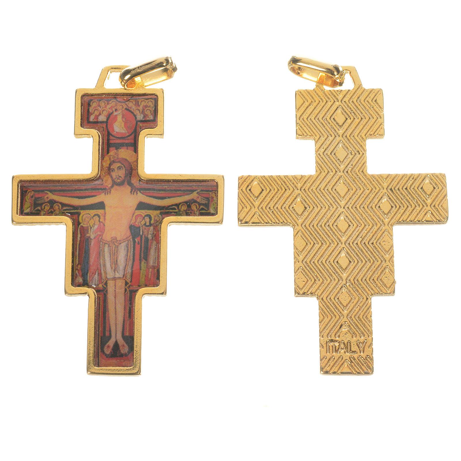 Golden Saint Damien cross with image 4