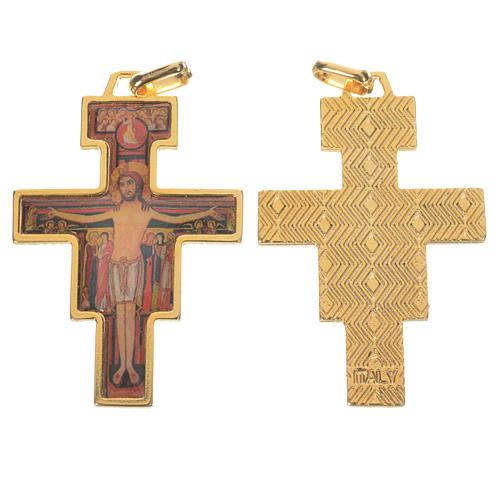 Golden Saint Damien cross with image 1
