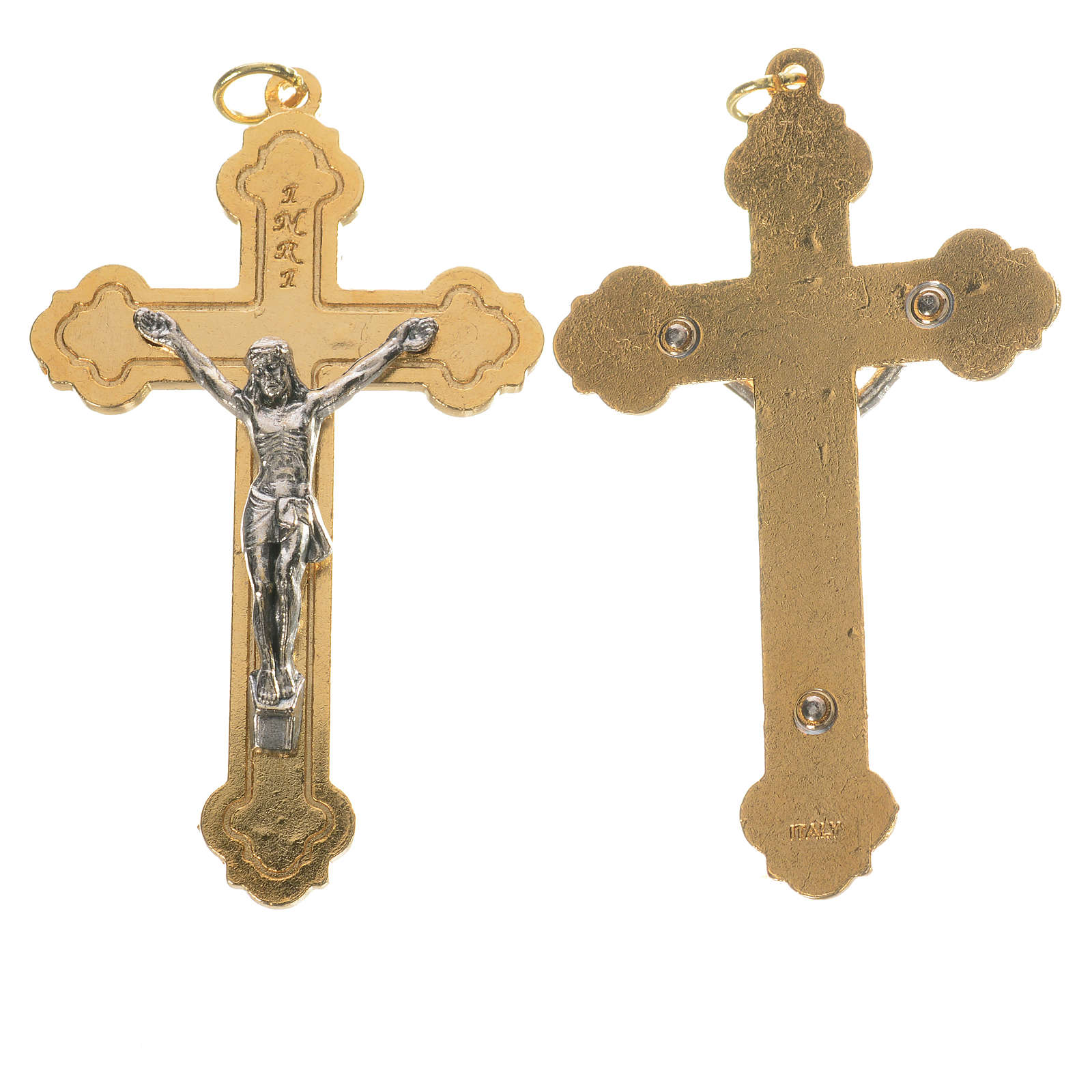 Crucifijo dorado y cuerpo de Jesús plateado 4