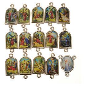 Peças para Montagem de Terços: Dezenas e medalha Via Sacra ESPANHOL 15 pcs
