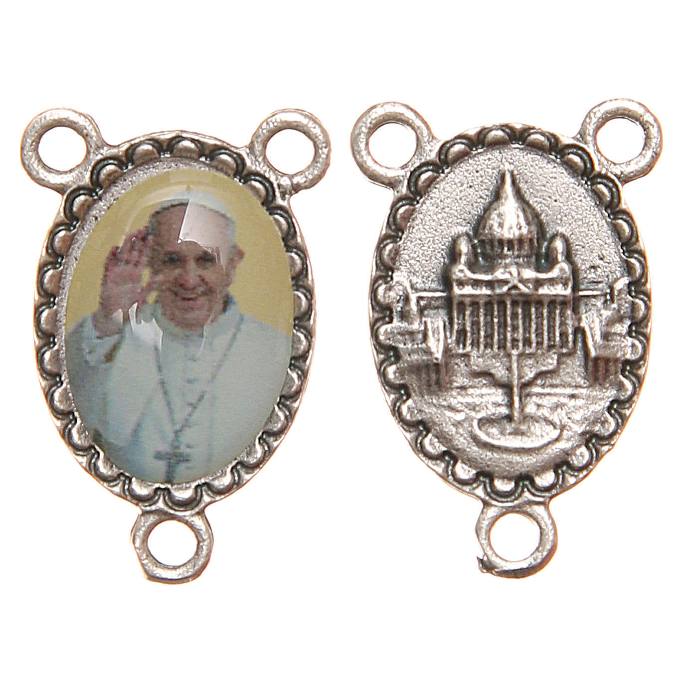 Oval medal for DIY rosary in resin with Pope Francis 1.8cm 4
