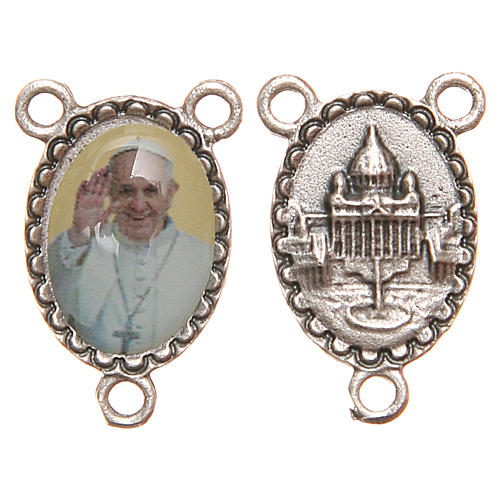 Oval medal for DIY rosary in resin with Pope Francis 1.8cm 1