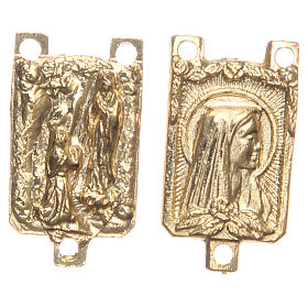 STOCK rectangular medal in golden metal with Grotto of Lourdes s1