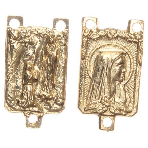 STOCK Médaille rectangulaire métal doré Grotte de Lourdes 1