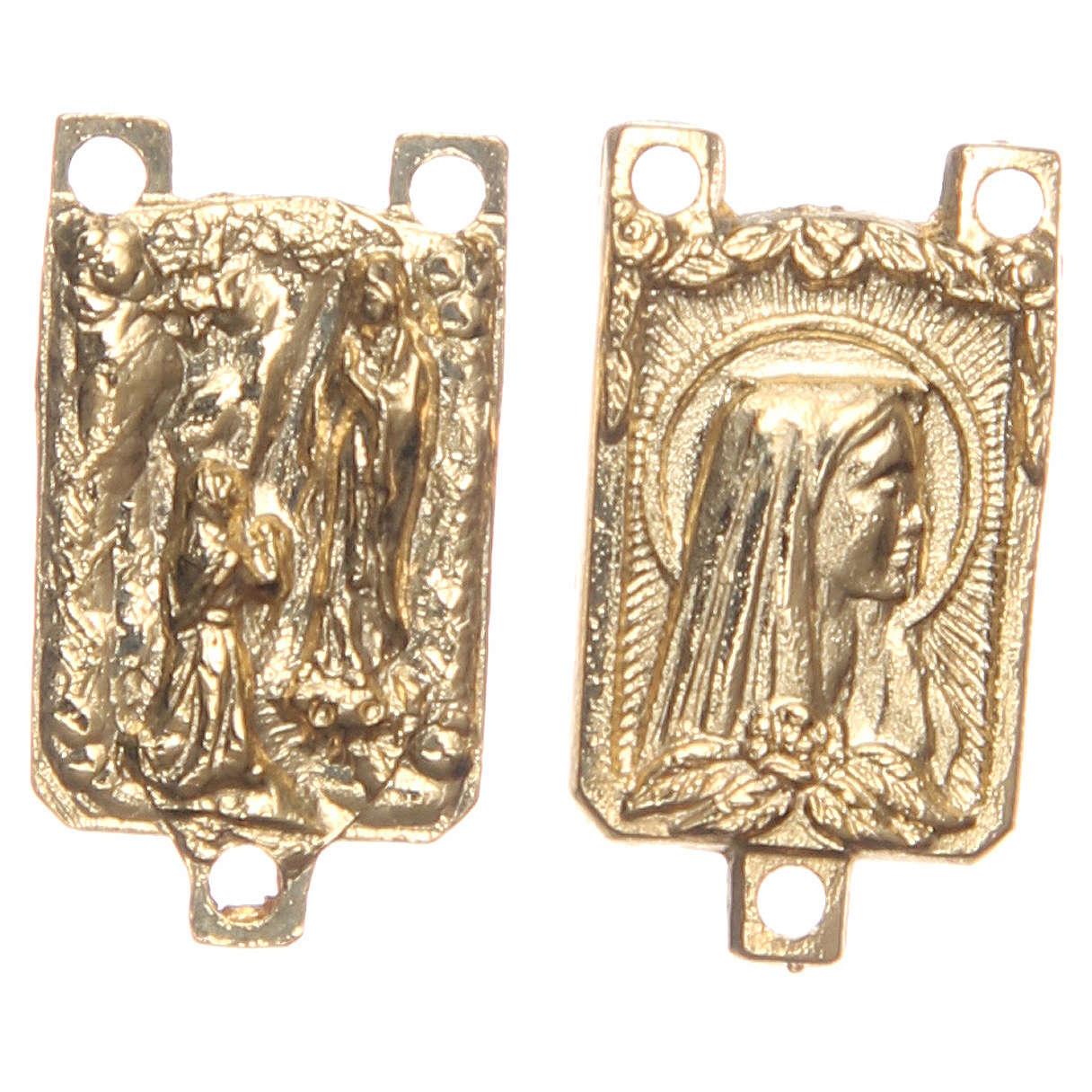 STOCK Crociera rettangolare metallo dorato Grotta di Lourdes 4