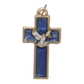 Croce Spirito Santo metallo dorato smalto blu s1