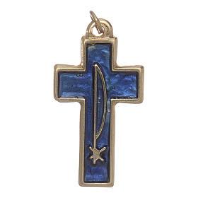Croce Spirito Santo metallo dorato smalto blu s2