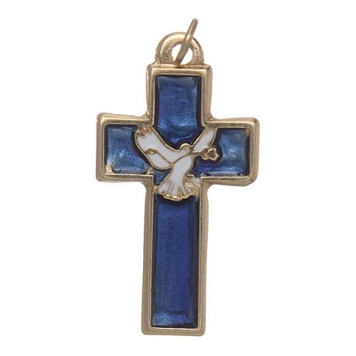 Croce Spirito Santo metallo dorato smalto blu 1