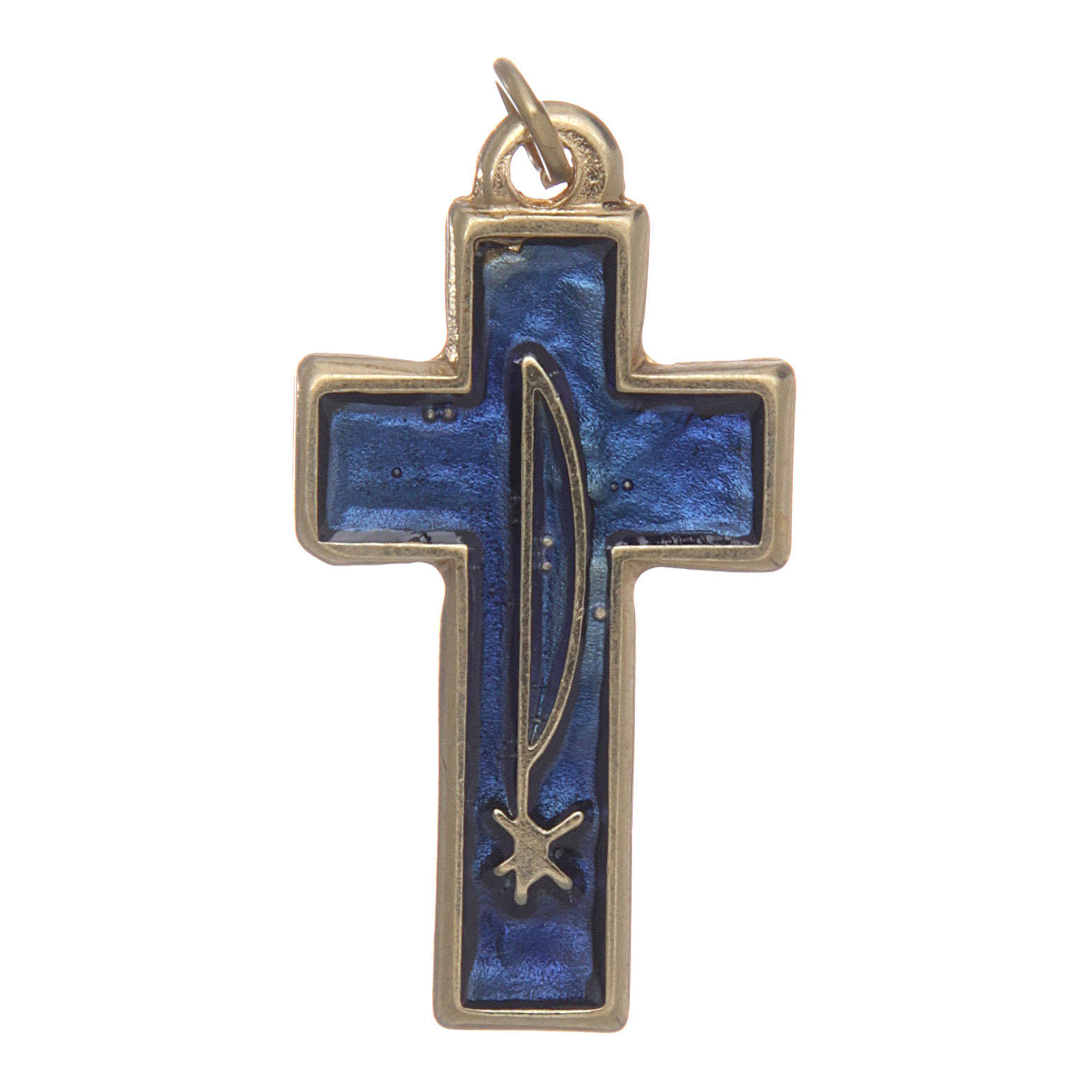 Holy Spirit cross in gold metal and blue varnish 4