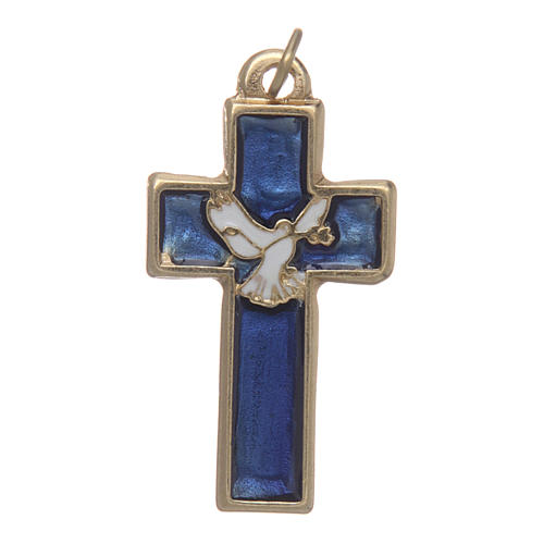 Holy Spirit cross in gold metal and blue varnish 1