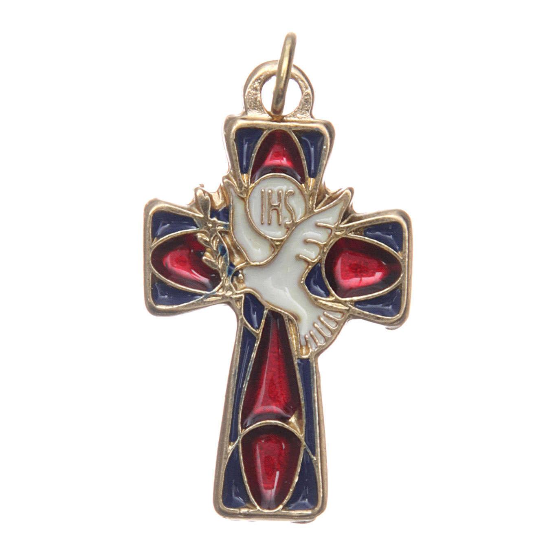 Croce Cresima metallo dorato smalto rosso blu 4