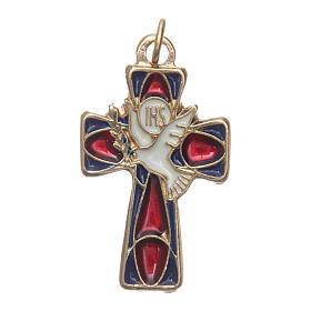 Croce Cresima metallo dorato smalto rosso blu s1