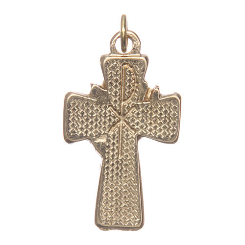 Confirmation cross in gold metal and blue and red varnish 2