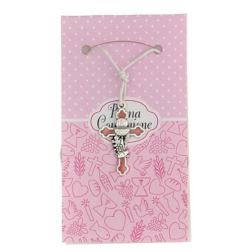 Cruz símbolo Comunión metal esmaltado plata y rosa 3 cm 1