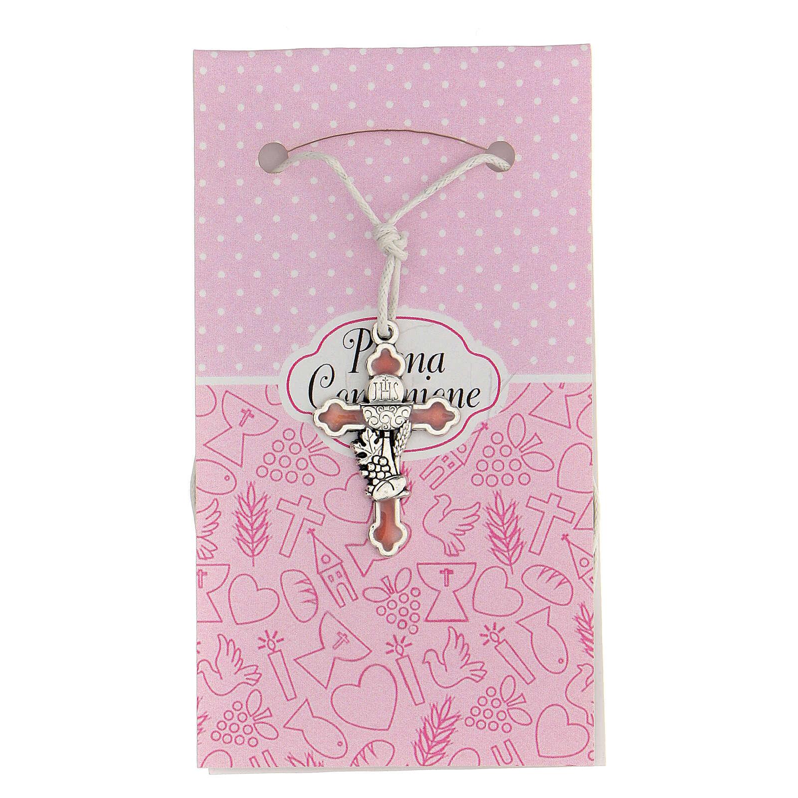 Cruz símbolo Comunhão metal esmaltado prata e cor-de-rosa 3 cm 4