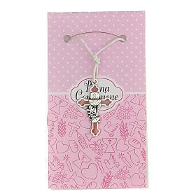 Cruz símbolo Comunhão metal esmaltado prata e cor-de-rosa 3 cm s1
