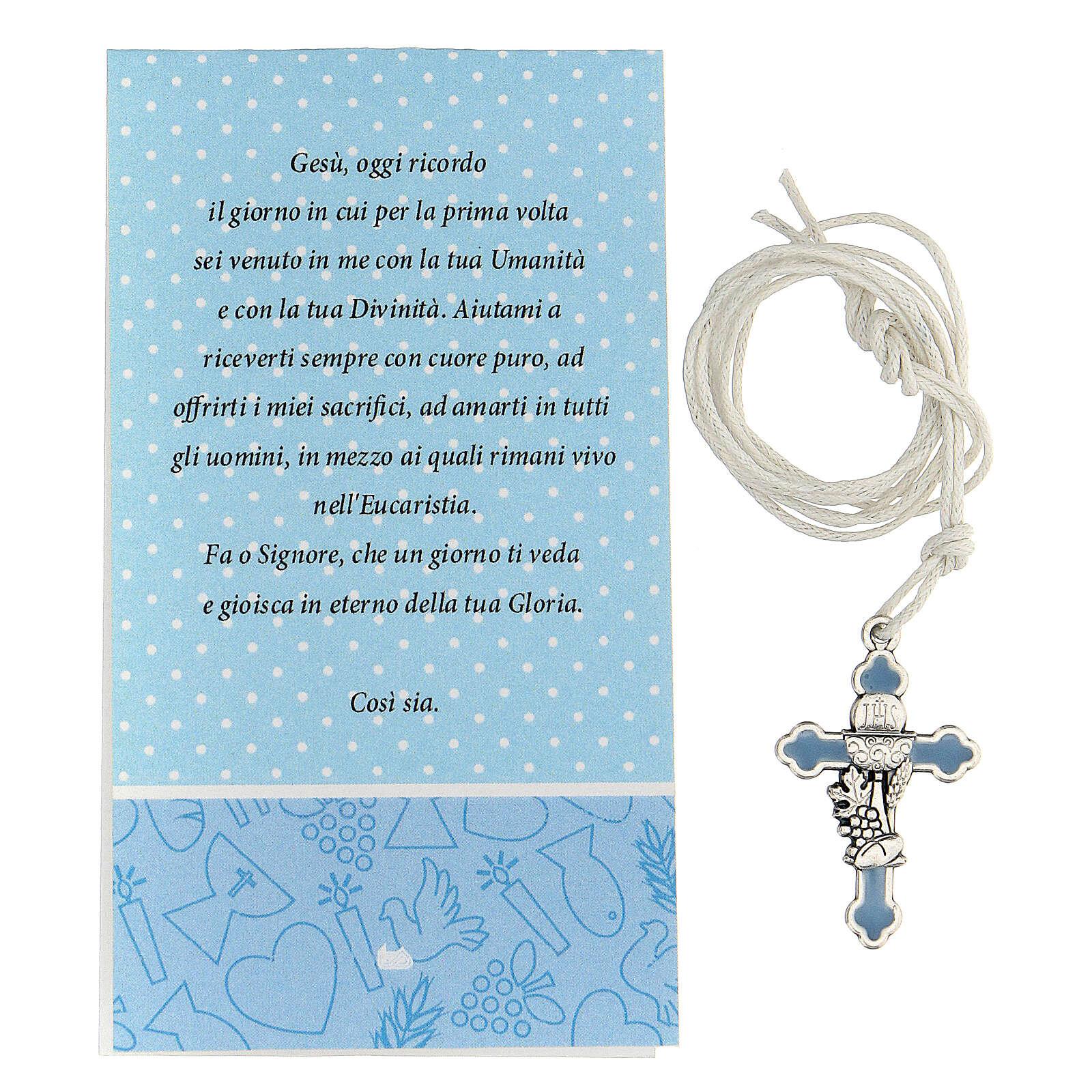 Croix métal argenté Communion émail bleu 3 cm 4