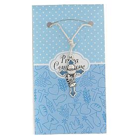 Croix métal argenté Communion émail bleu 3 cm s1