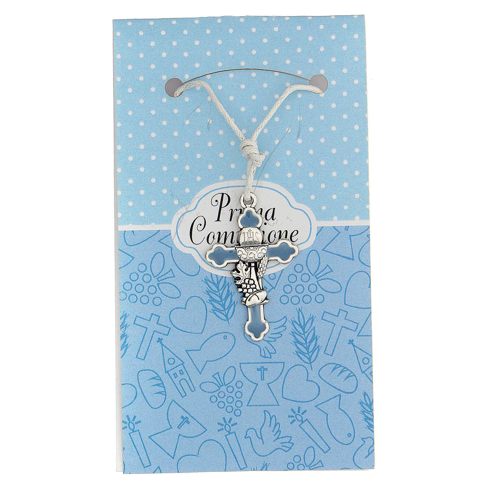 Croce metallo argentato Comunione smalto blu 3 cm 4