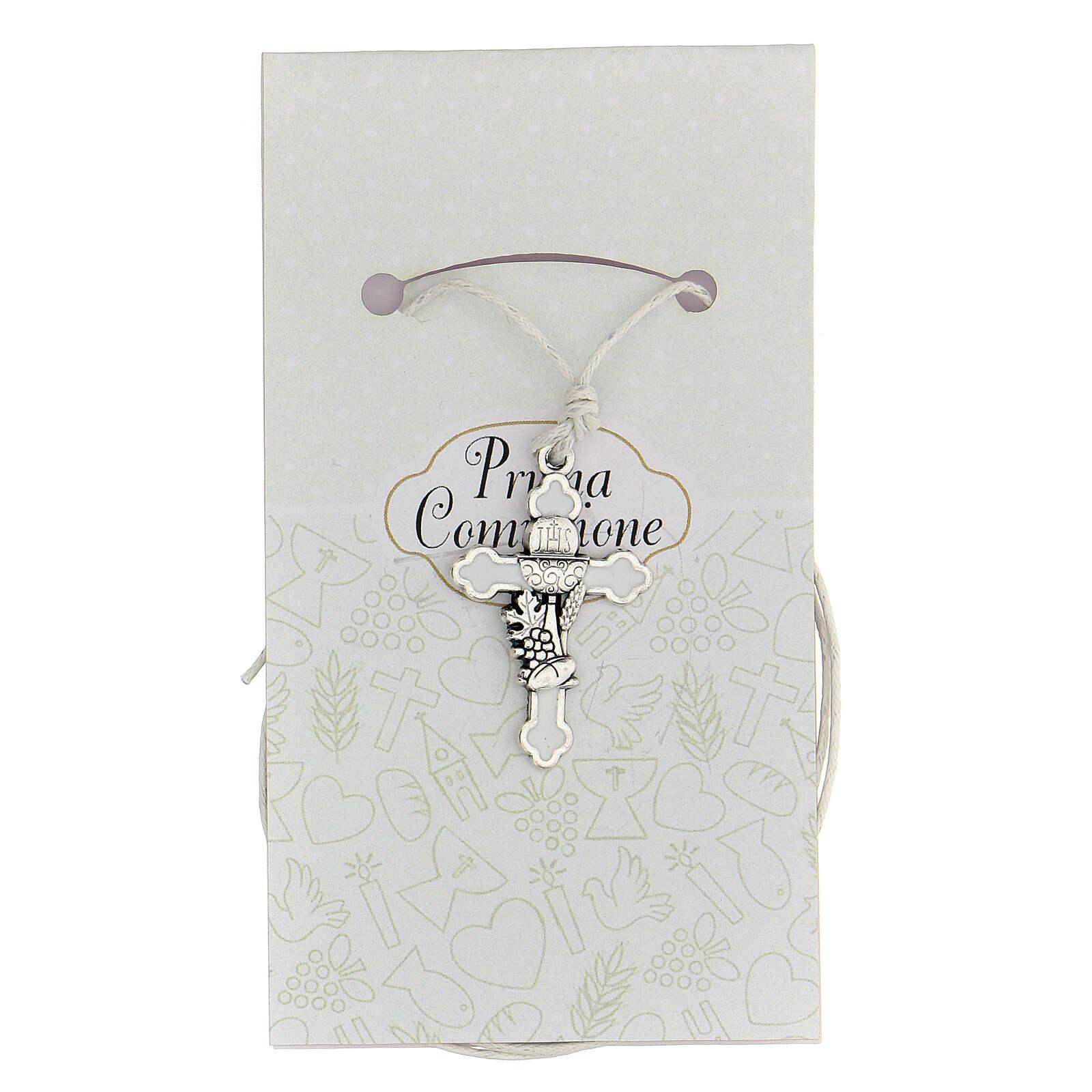 Cruz Comunión metal plata y esmalte blanco 3 cm 4