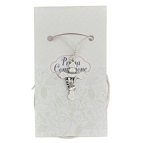 Cruz Comunión metal plata y esmalte blanco 3 cm 1