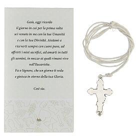 Croix Communion métal argenté et émail blanc 3 cm s3
