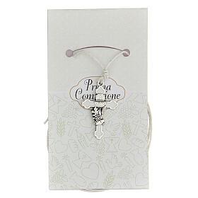 Cruz Comunhão metal prateado e esmalte branco 3 cm s1