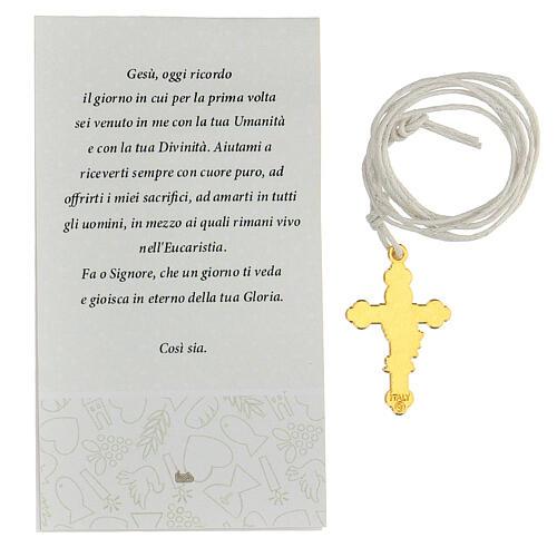 Cruz metal dorado esmalte blanco Comunión 3 cm 3