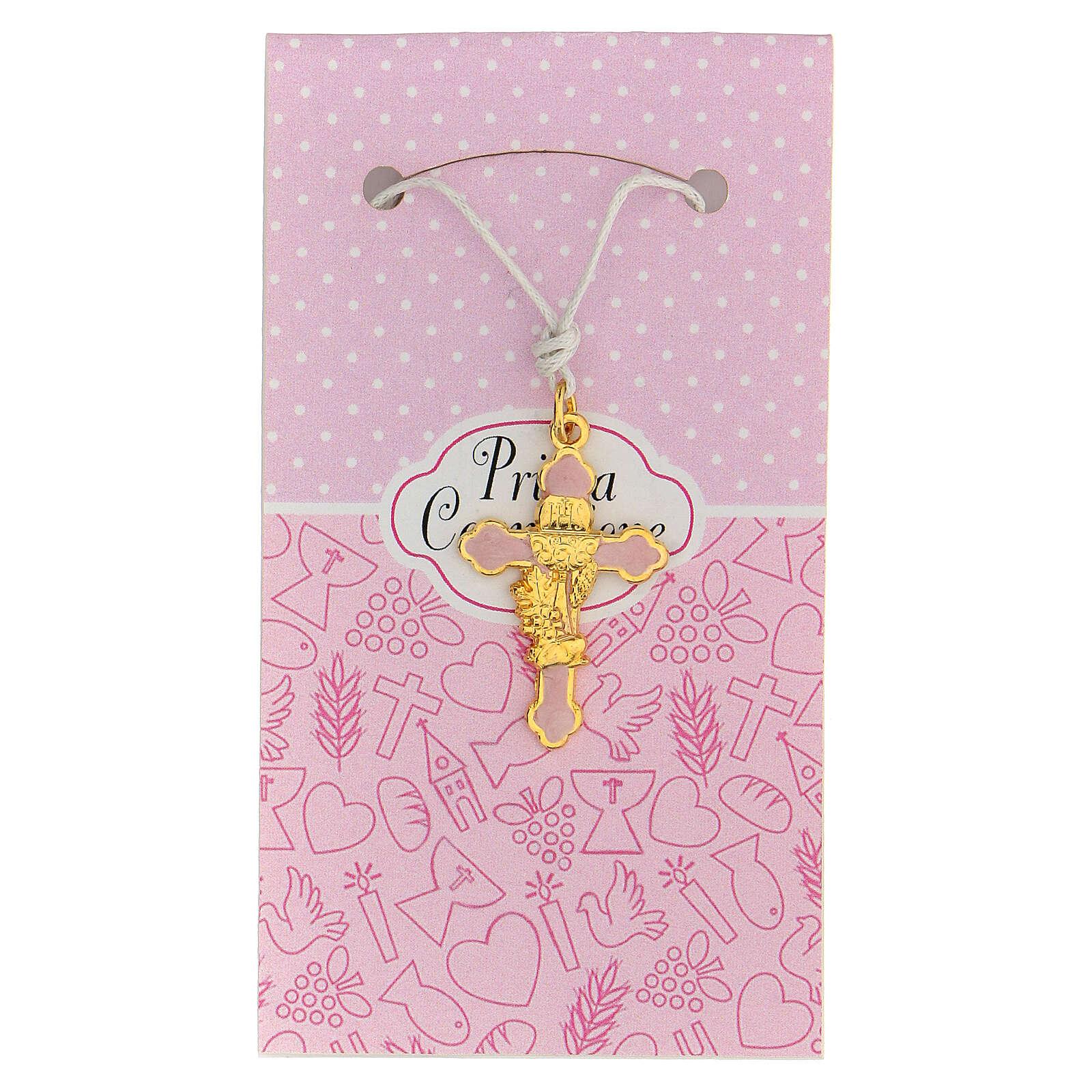 Croix émail rose et métal doré Communion 3 cm 4