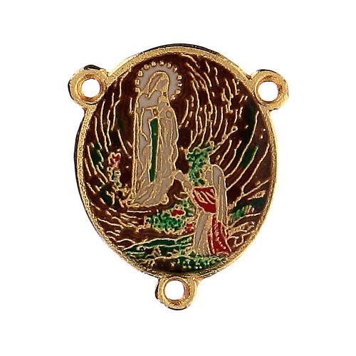 Enamelled pendant Our Lady of Lourdes and Bernadette 1