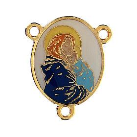 Łącznik złoty kolor emaliowany Madonna z Dzieciątkiem s1