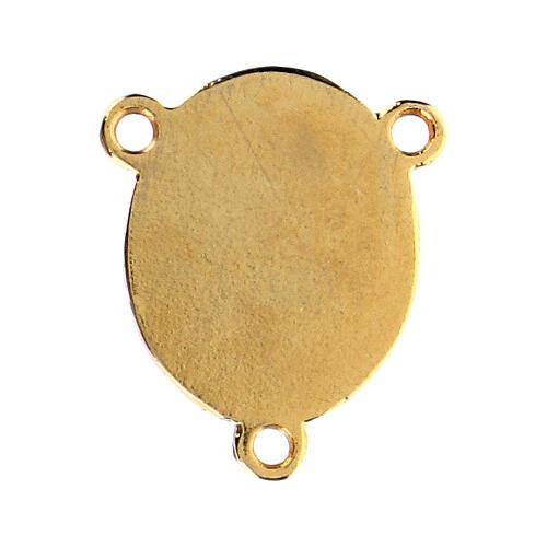 Łącznik złoty kolor emaliowany Madonna z Dzieciątkiem 2