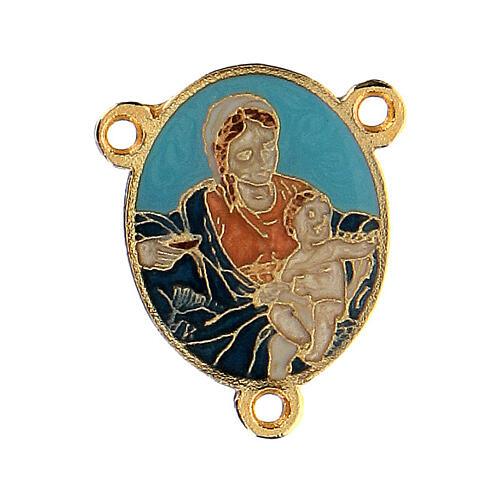 Cruce esmalte turquesa Virgen con Niño 1