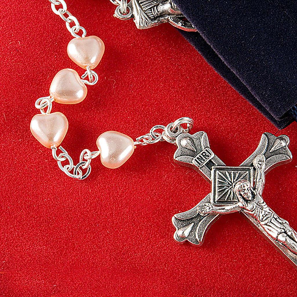 Rosario símil perla corazón 4