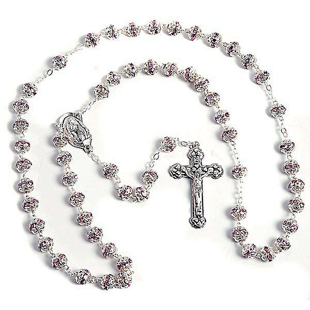 Pink strass and metal rosary 4