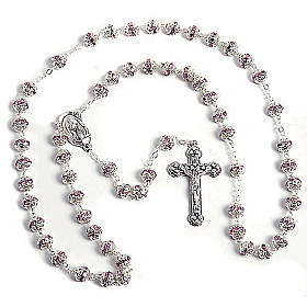 Pink strass and metal rosary s1
