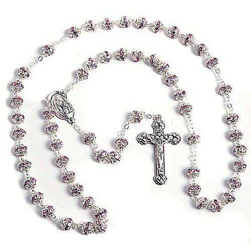 Pink strass and metal rosary 1