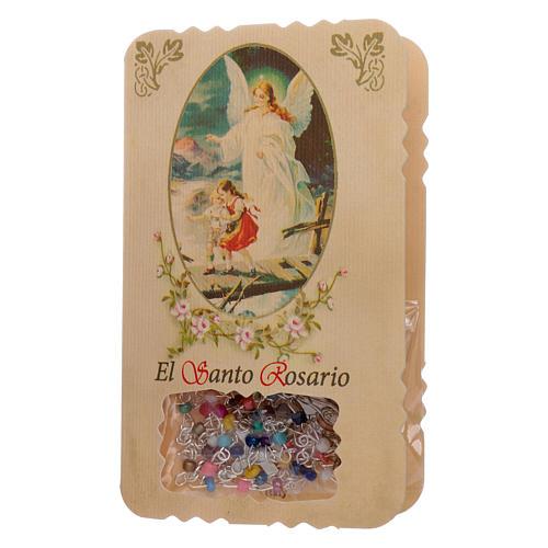 Różaniec ze składaną kartką anioł stróż, litanie i tajemnice 1