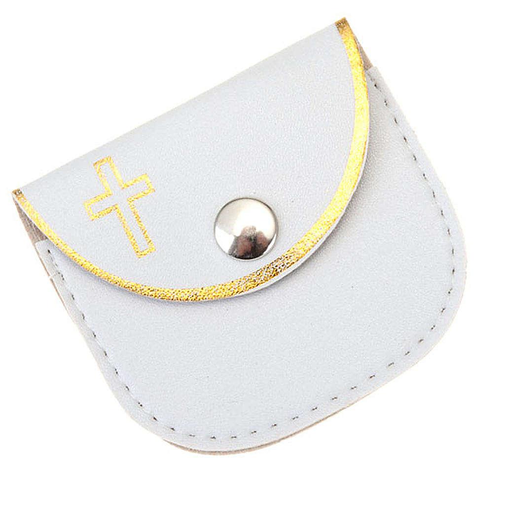 Porte chapelet en faux cuire, blanc, croix en or 4
