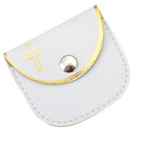 Porte chapelet en faux cuire, blanc, croix en or s1