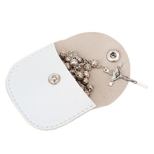 Porte chapelet en faux cuire, blanc, croix en or 2