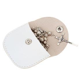 Portarosario similpelle bianco  croce oro s2