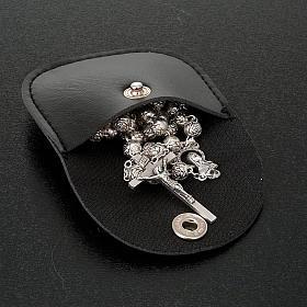 Leatherette golden cross rosary case s3
