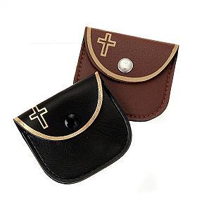 Etui chapelet faux cuire croix or s1